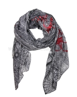 Desigual Womens' Scarf Rectangle Adhara Gray