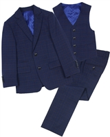 Isaac Mizrahi Boys' 3-piece Plaid Suit in Blue/Rust