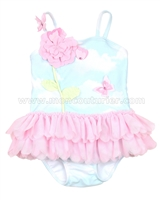 Kate Mack Skirted Swimsuit Butterfly Sky