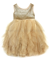 Biscotti Grand Entrance Frilled Dress Gold