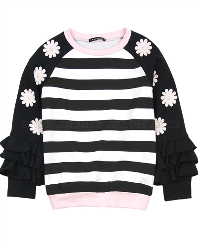 Kate Mack Rumba Roses Striped Sweatshirt