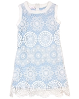 Biscotti Girls Shift Dress Crazy for Crochet Blue