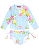 Kate Mack Little Girls' Rash Guard and Bottom Garden Roses