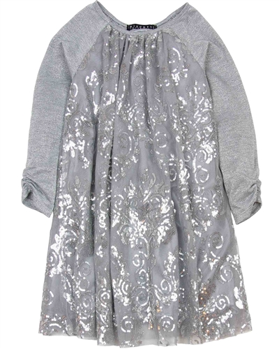 Biscotti Starry Night Dress with Sequins in Gray