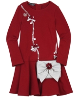 Kate Mack Holiday Magic Dress with Purse in Red