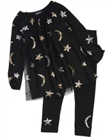 Kate Mack Moon and Stars Tunic and Leggings Set in Black