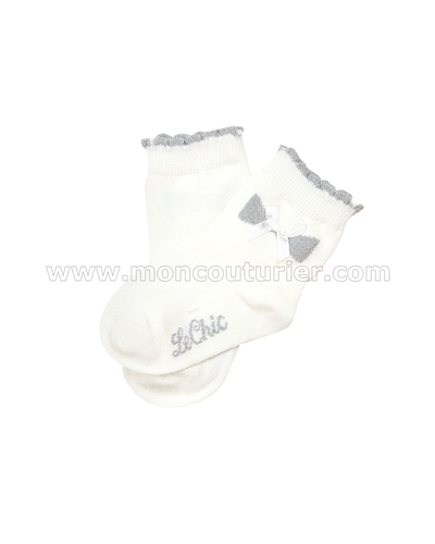 Le Chic Baby Girl Socks with Bow Ivory