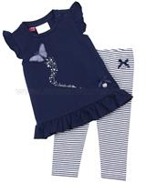 Le Chic Baby Girl Tunic with Butterfly and Striped Leggings