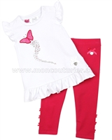 Le Chic Baby Girl Tunic with Butterfly and Leggings Raspberry