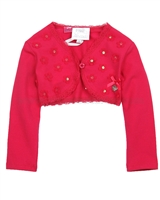Le Chic Baby Girl Bolero with Flower Applique Raspberry