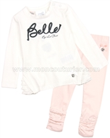 Le Chic Baby Girl Tunic and Leggings Set White/Peach