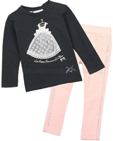 Le Chic Baby Girl T-shirt and Ponti Pants Set
