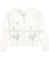Le Chic Baby Girl Cardigan with Crystal Hearts