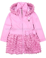 Le Chic Baby Girl Coat with Chiffon Rosettes Bottom