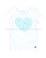 Le Chic Baby Girl T-shirt with Heart Blue