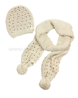 Le Chic Hat and Scarf Set Beige