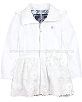 Le Chic Windbreaker Jacket with Embroidered Organza White