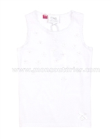Le Chic Tank Top with Flowers White