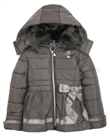 Le Chic Puffer Jacket with Satin Bow Mud
