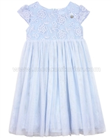 Le Chic Girls' Blue Tulle Dress with Embroidery
