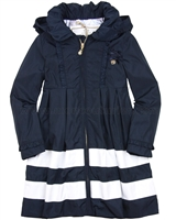 Le Chic Girls' Navy Coat with Stripes