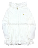 Le Chic Girls' White Coat with Rosettes