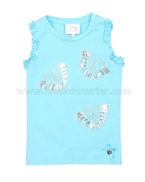 Le Chic Girls' Yellow Tank Top with Butterflies