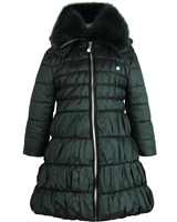 Le Chic Long Quilted Coat with Fur Collar Green