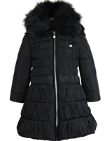 Le Chic Long Quilted Coat with Fur Collar Black