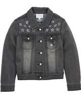 Le Chic Denim Jacket with Crystal Flowers