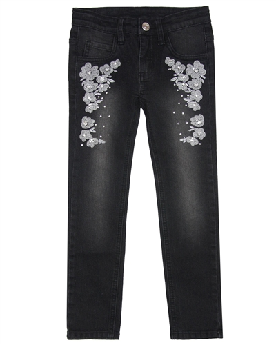 Le Chic Skinny Denim Pants with Floral Embroidery