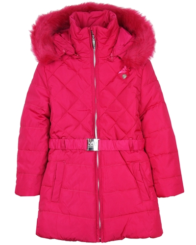 Le Chic Quilted Coat with Ruffles Fushia