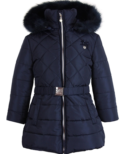 Le Chic Quilted Coat with Ruffles Navy