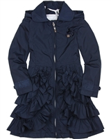 Le Chic Girls' Navy Coat with Ruffles