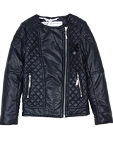 Le Chic Girls' Quilted Pleather Jacket in Navy