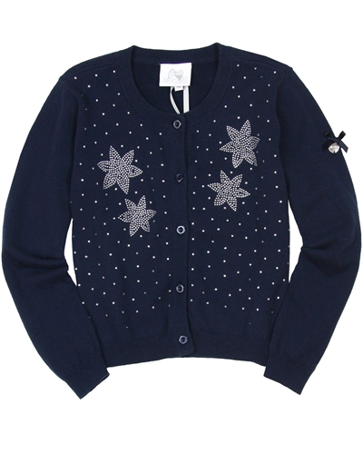 Le Chic Girls' Cardigan with Rhinestones in Navy