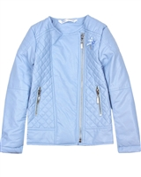 Le Chic Girls' Quilted Pleather Jacket in Blue