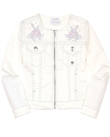 Le Chic Girls' Twill Jacket with Embroidered Flowers