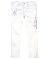 Le Chic Girls' Twill Pants with Embroidered Flowers