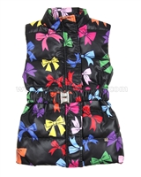 Love Made Love Quilted Down Vest with Printed Bows