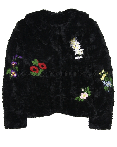 Love Made Love Emboidered Faux Fur Jacket