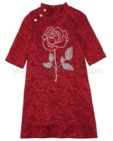 Love Made Love Jacquard Dress with Crystal Rose