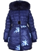 Lisa-Rella Girls' Quilted Down Coat with Real Fur Trim Roses Print