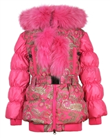 Lisa-Rella Girls' Quilted Down Coat with Real Fur Trim Paisley Print