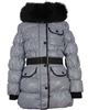 Lisa-Rella Girls' Quilted Down Coat with Real Fur Trim Houndstooth Print