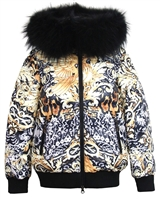 Lisa-Rella Girls' Down Bomber in Tiger Print