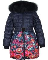 Lisa-Rella Girls' Quilted Down Coat in Floral Print