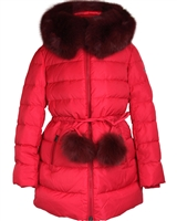 Lisa-Rella Girls' A-line Quilted Down Coat in Red