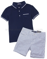 Mayoral Boy's Polo and Striped Shorts Set