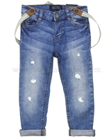 Mayoral Boy's Denim Pants with Suspenders